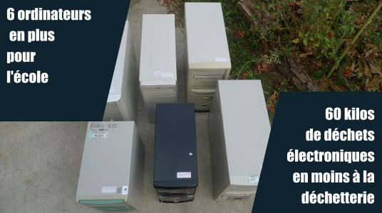 6 ordinateurs revalorisés pour l'école primaire